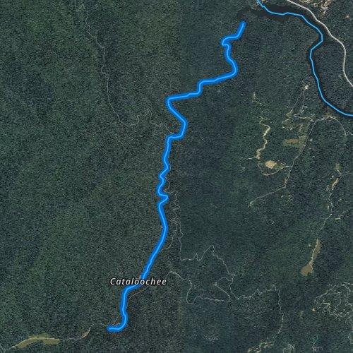 Fly fishing map for Cataloochee Creek, North Carolina