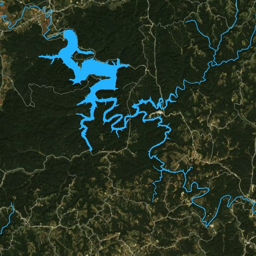 Fly fishing map for Cave Run Lake, Kentucky