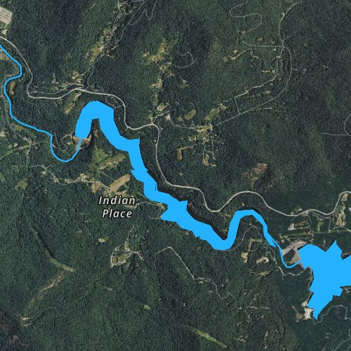 Fly fishing map for Cedar Cliff Lake, North Carolina