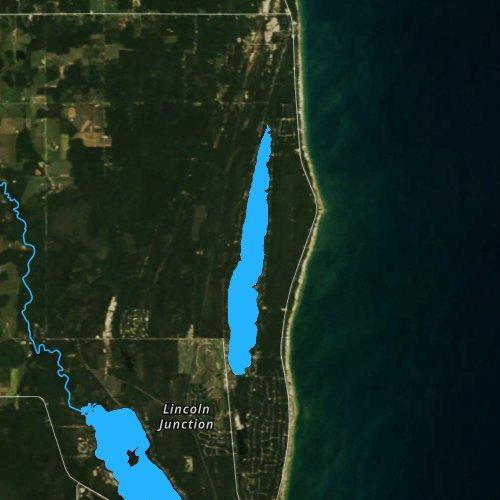 Fly fishing map for Cedar Lake: Alcona, Michigan