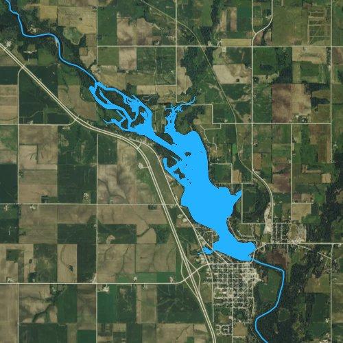 Fly fishing map for Cedar Lake, Iowa