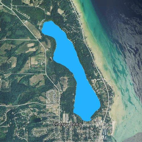 Fly fishing map for Cedar Lake: Leelanau, Michigan