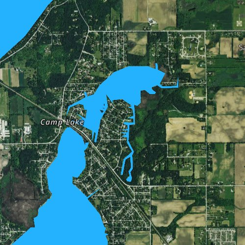 Fly fishing map for Center Lake, Wisconsin