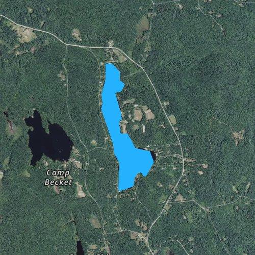 Fly fishing map for Center Pond, Massachusetts