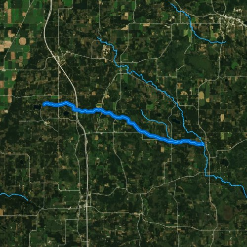 Fly fishing map for Chaffee Creek, Wisconsin