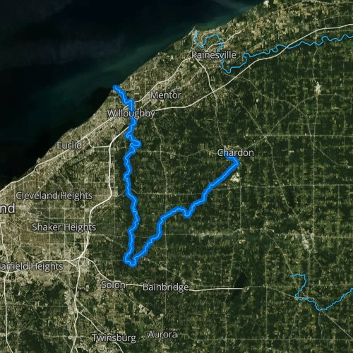 Fly fishing map for Chagrin River, Ohio