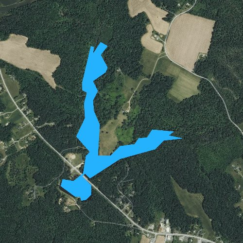 Fly fishing map for Chandlers Millpond, Virginia