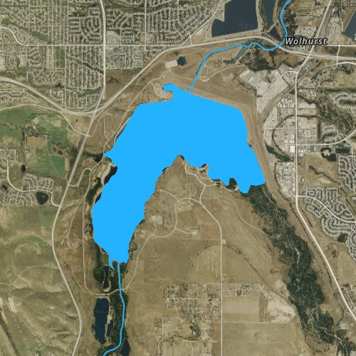Fly fishing map for Chatfield Lake, Colorado