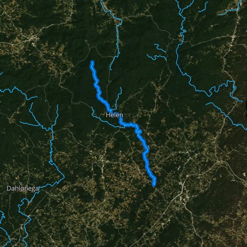 Fly fishing map for Chattahoochee River, Georgia