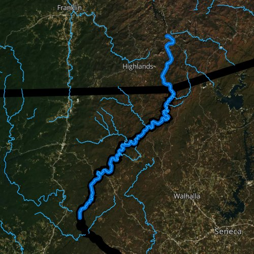 Fly fishing map for Chattooga River, Georgia