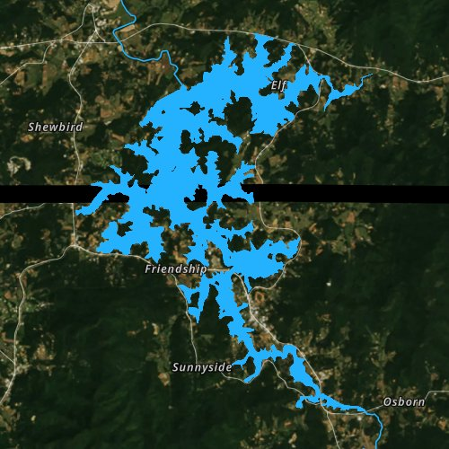 Fly fishing map for Chatuge Lake, Georgia