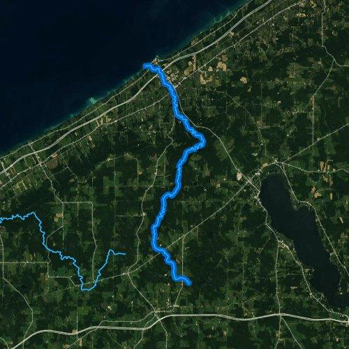 Fly fishing map for Chautauqua Creek, New York
