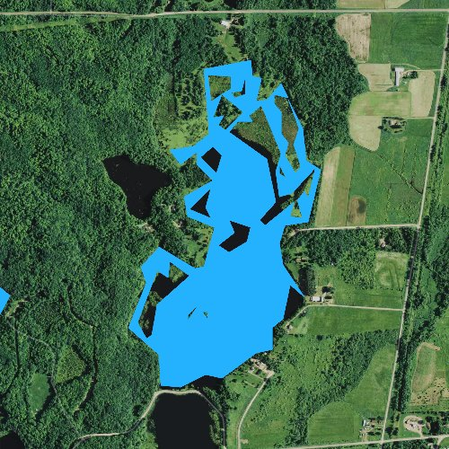Fly fishing map for Chelsea Lake, Wisconsin