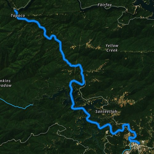 Fly fishing map for Cheoah River, North Carolina