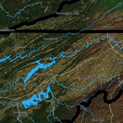 Fly fishing map for Cherokee Lake, Tennessee