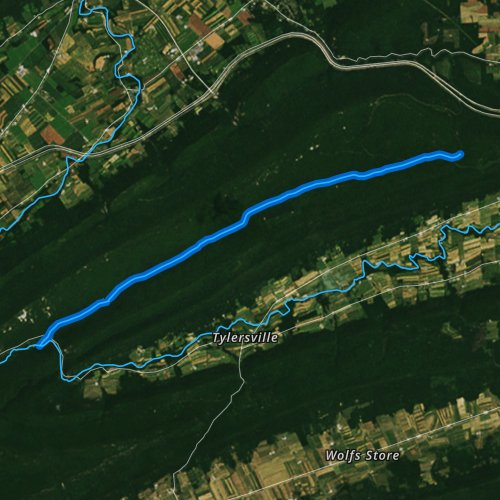 Fly fishing map for Cherry Run, Pennsylvania