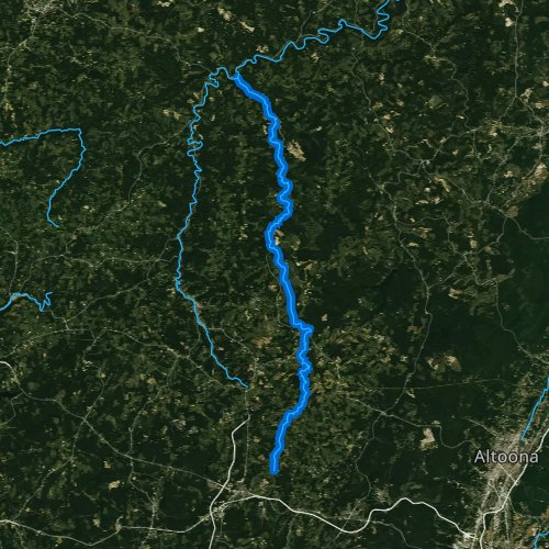 Fly fishing map for Chest Creek, Pennsylvania