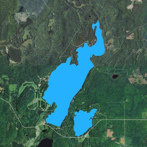 Fly fishing map for Chicagon Lake, Michigan