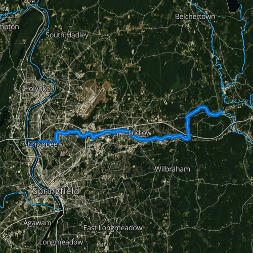 Fly fishing map for Chicopee River, Massachusetts