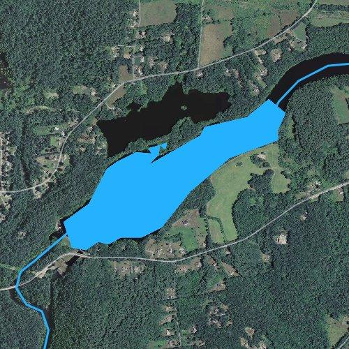 Fly fishing map for Chicopee River Reservoir, Massachusetts