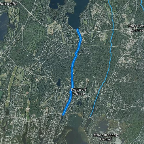 Fly fishing map for Childs River, Massachusetts
