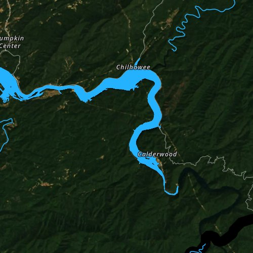 Fly fishing map for Chilhowee Lake, Tennessee