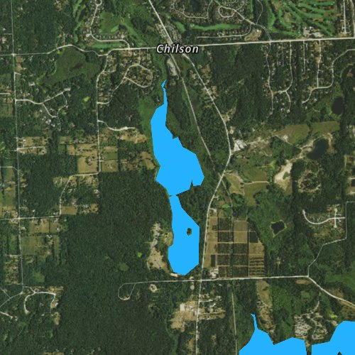 Fly fishing map for Chilson Impoundment, Michigan