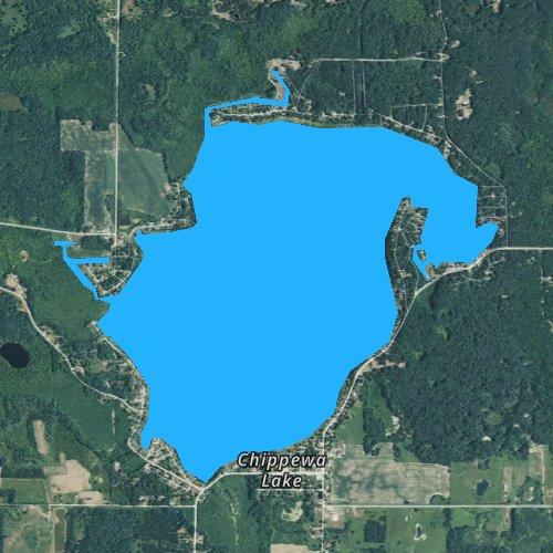 Fly fishing map for Chippewa Lake, Michigan