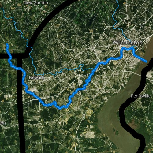 Fly fishing map for Christina River, Delaware
