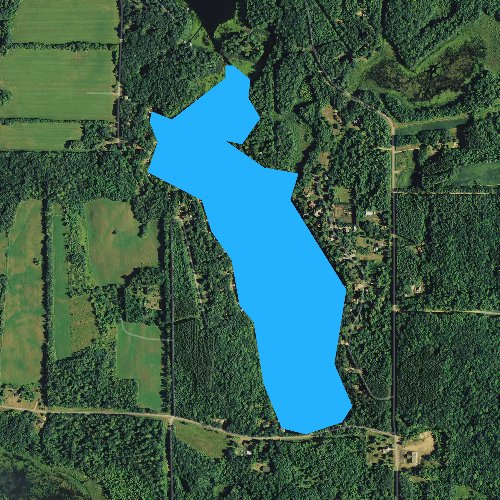 Fly fishing map for Church Pine Lake, Wisconsin