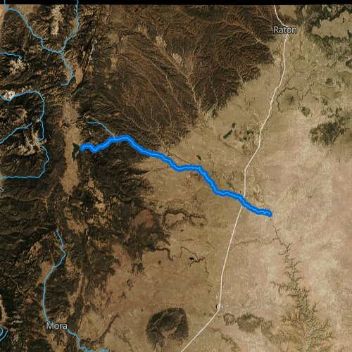 Fly fishing map for Cimarron River, New Mexico