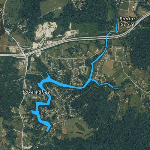 Fly fishing map for City Lake, Tennessee