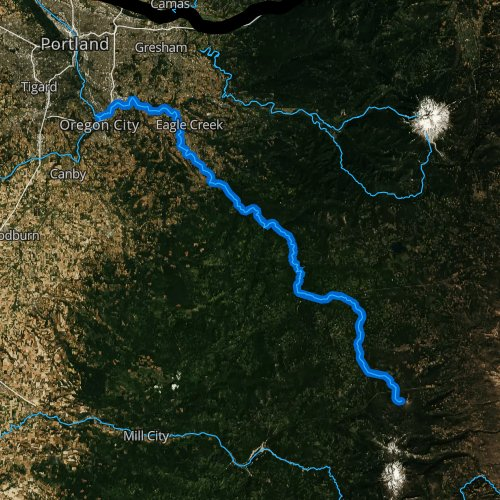 Fly fishing map for Clackamas River, Oregon
