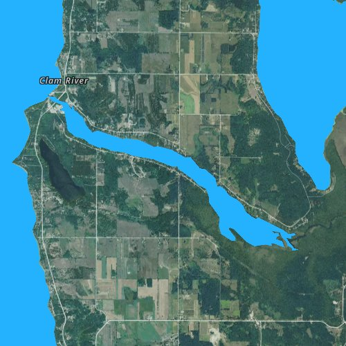Fly fishing map for Clam Lake, Michigan