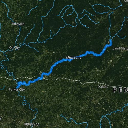 Fly fishing map for Clarion River, Pennsylvania