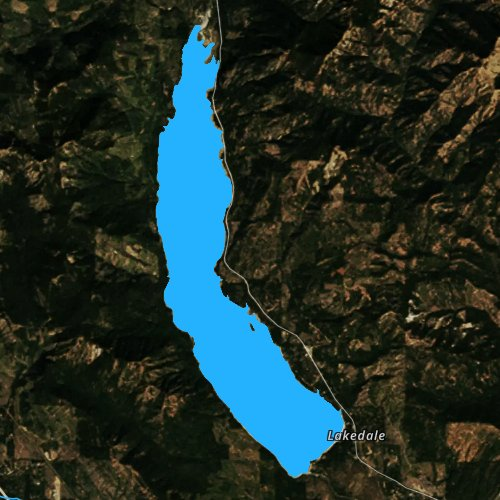 Fly fishing map for Cle Elum Lake, Washington