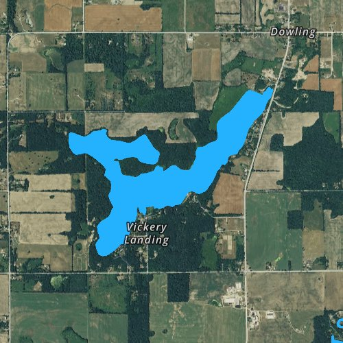 Fly fishing map for Clear Lake: Barry, Michigan