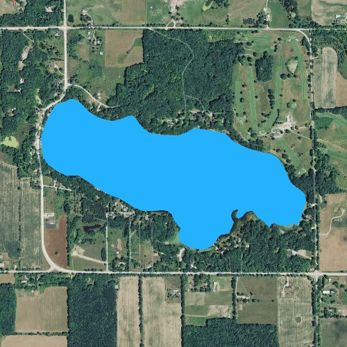 Fly fishing map for Clear Lake: Mecosta, Michigan