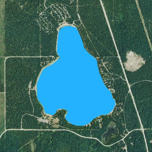 Fly fishing map for Clear Lake: Montmorency, Michigan
