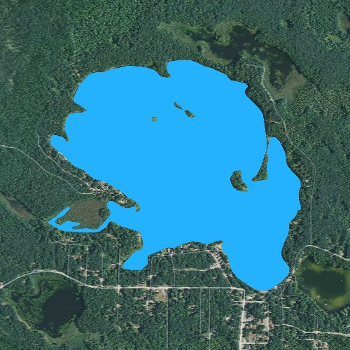 Fly fishing map for Clear Lake: Ogemaw, Michigan