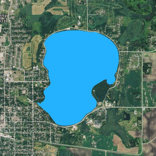 Fly fishing map for Clear Lake: Waseca, Minnesota