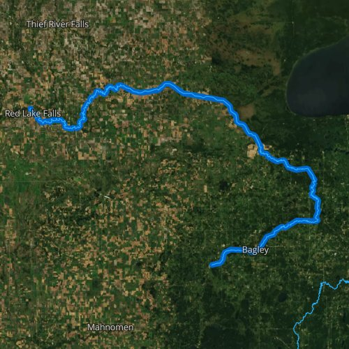 Fly fishing map for Clearwater River, Minnesota