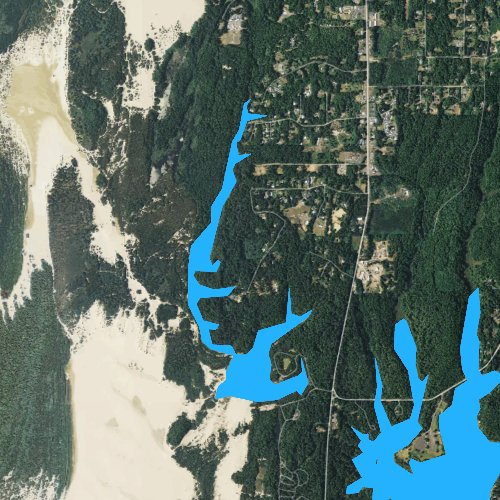 Fly fishing map for Cleawox Lake, Oregon