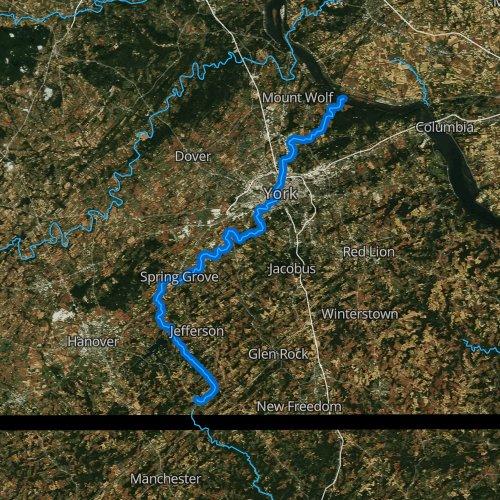 Fly fishing map for Codorus Creek, Pennsylvania