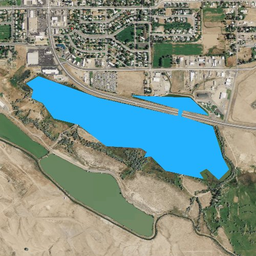 Fly fishing map for Cody Municipal Reservoir, Wyoming