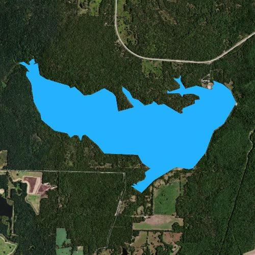 Fly fishing map for Coffee Mill Lake, Texas