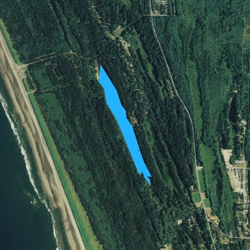 Fly fishing map for Coffenbury Lake, Oregon