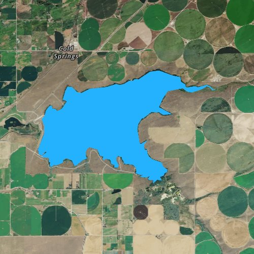 Fly fishing map for Cold Springs Reservoir, Oregon