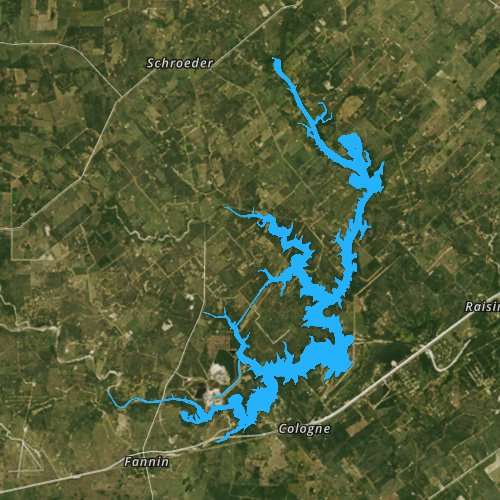 Fly fishing map for Coleto Creek Cooling Pond, Texas