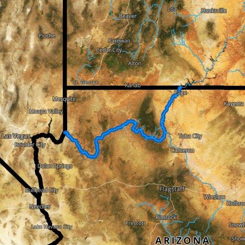 Fly fishing map for Colorado River, Arizona